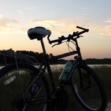 Bike at sunset Harns Marsh
