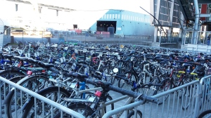 bike valet corral of bikes